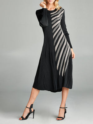 Pleated Black Layla  Long Dress 87135-1