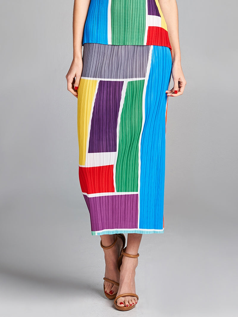 Pleated Multi CB Sleeveless Pencil Skirt 5003