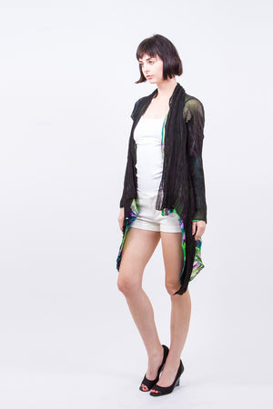 Pleated  Green Black Reversable Cardigan ZS01