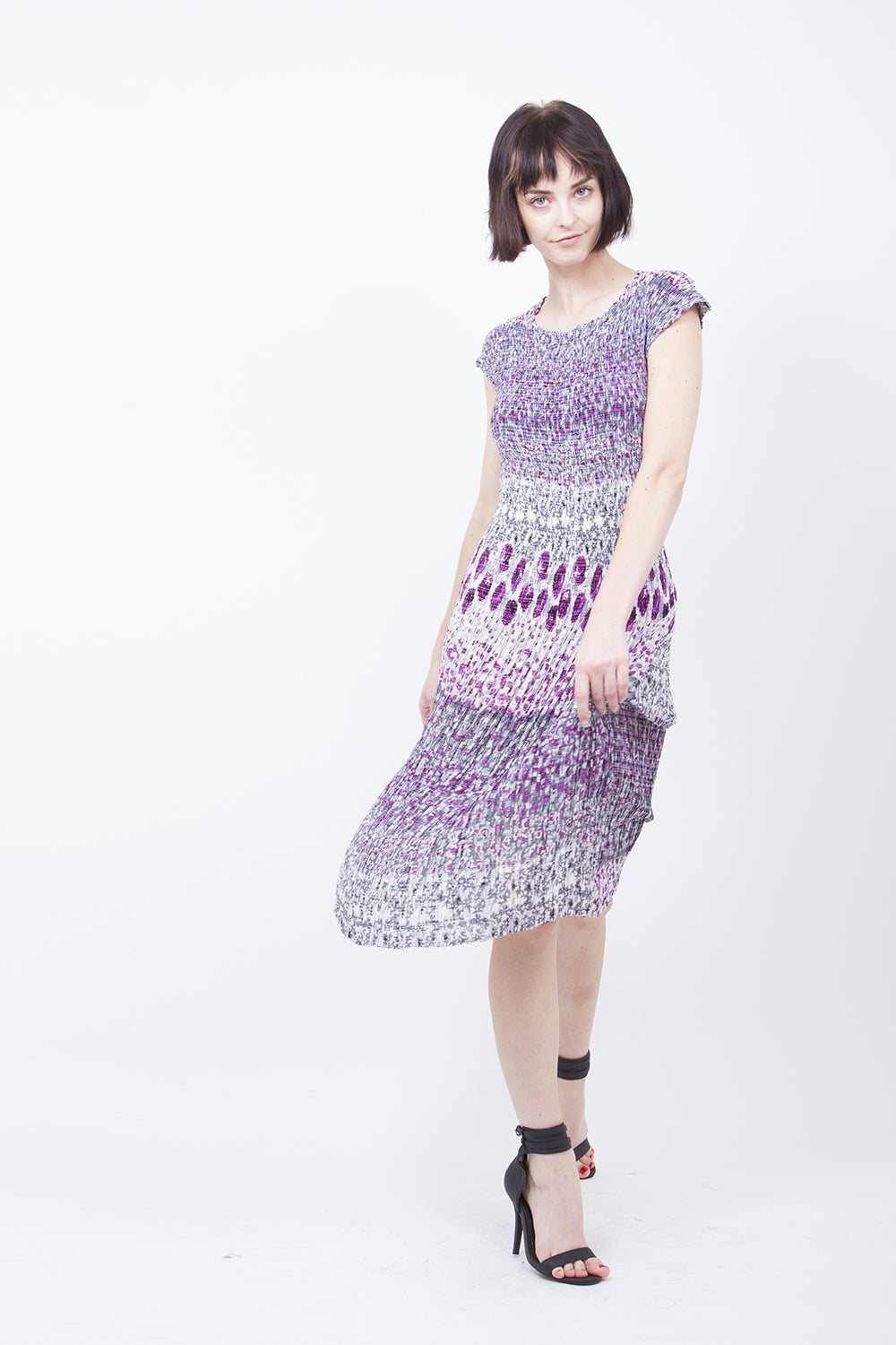 Pleated Purple Printed  Midi Dress 9205
