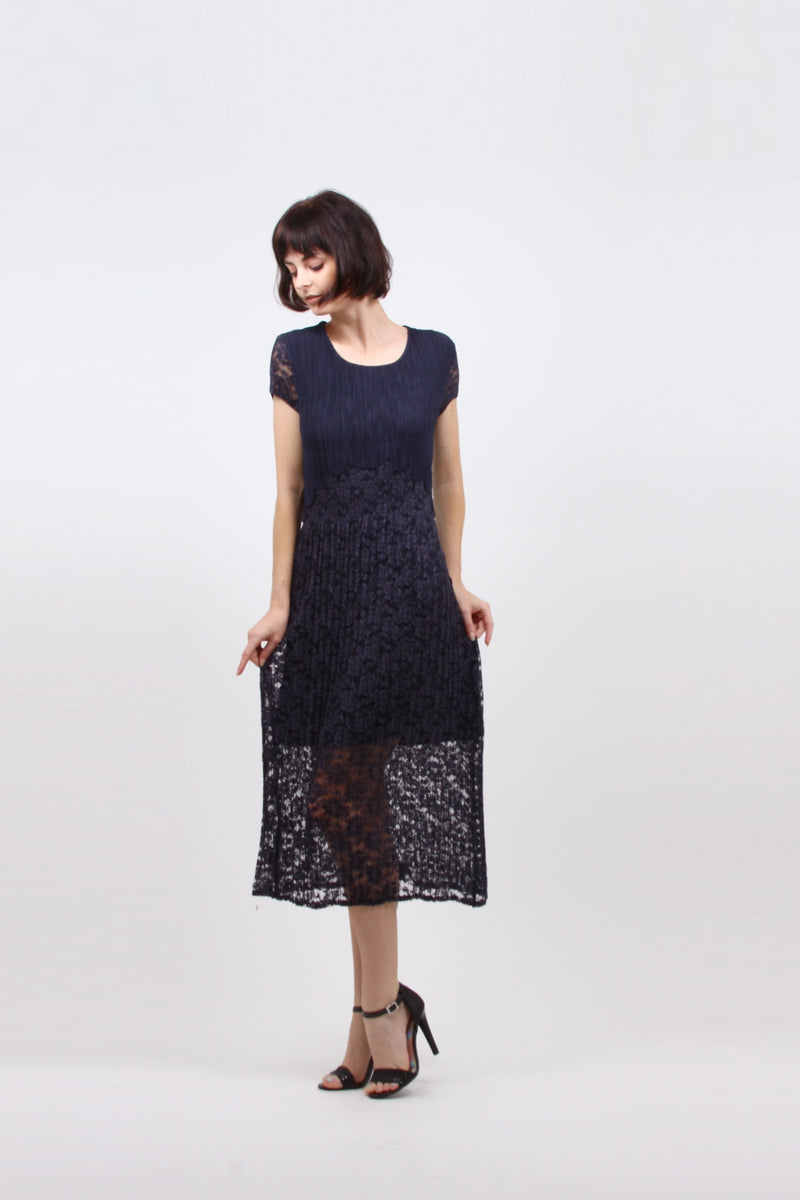 Pleated Navy Lace  Maxi Dress 9598