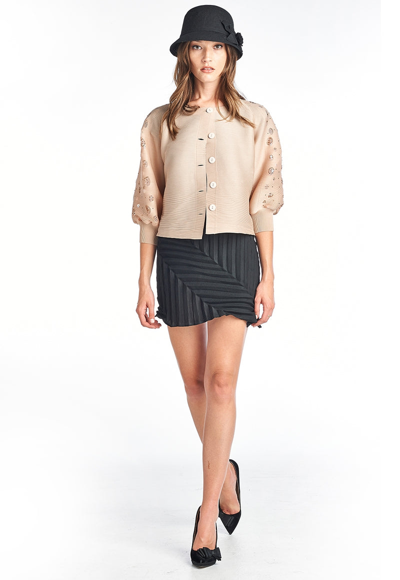Pleated  Roza  Jacket 3/4 sleeve Beige 9966