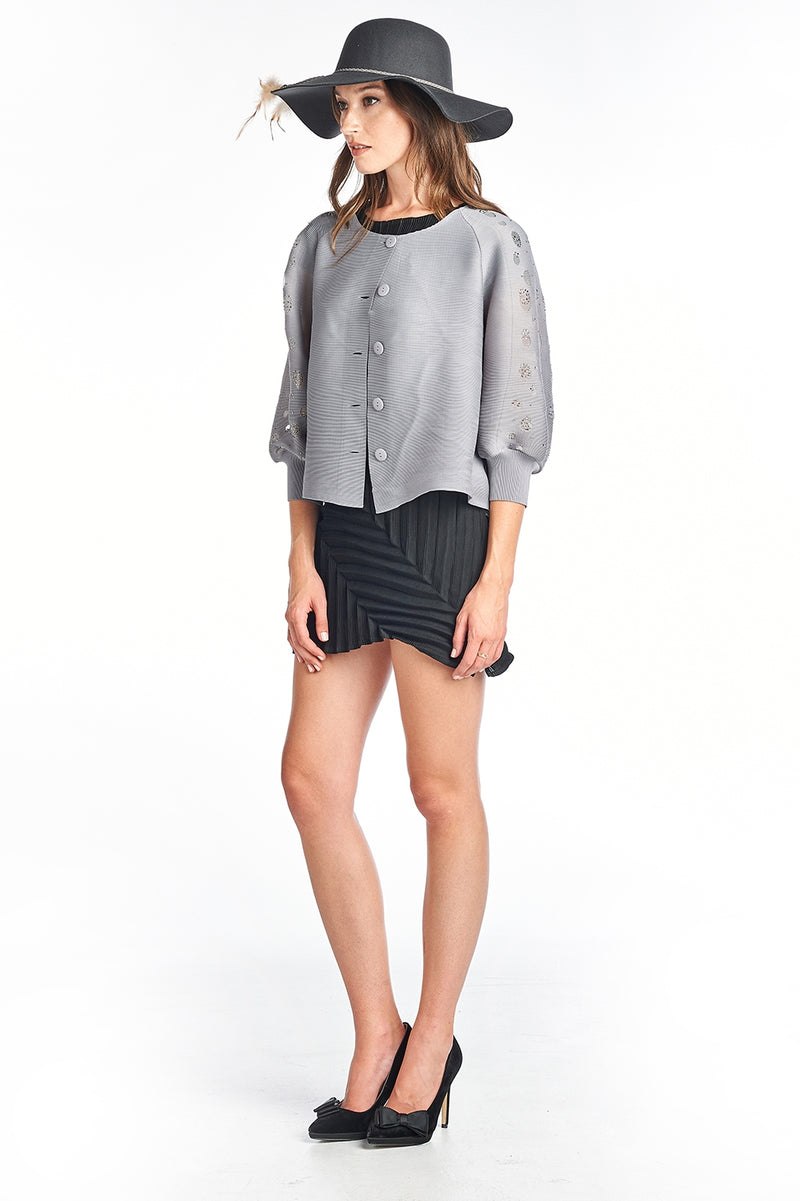 Pleated  Grey Roza  Jacket 3/4 sleeve 9966