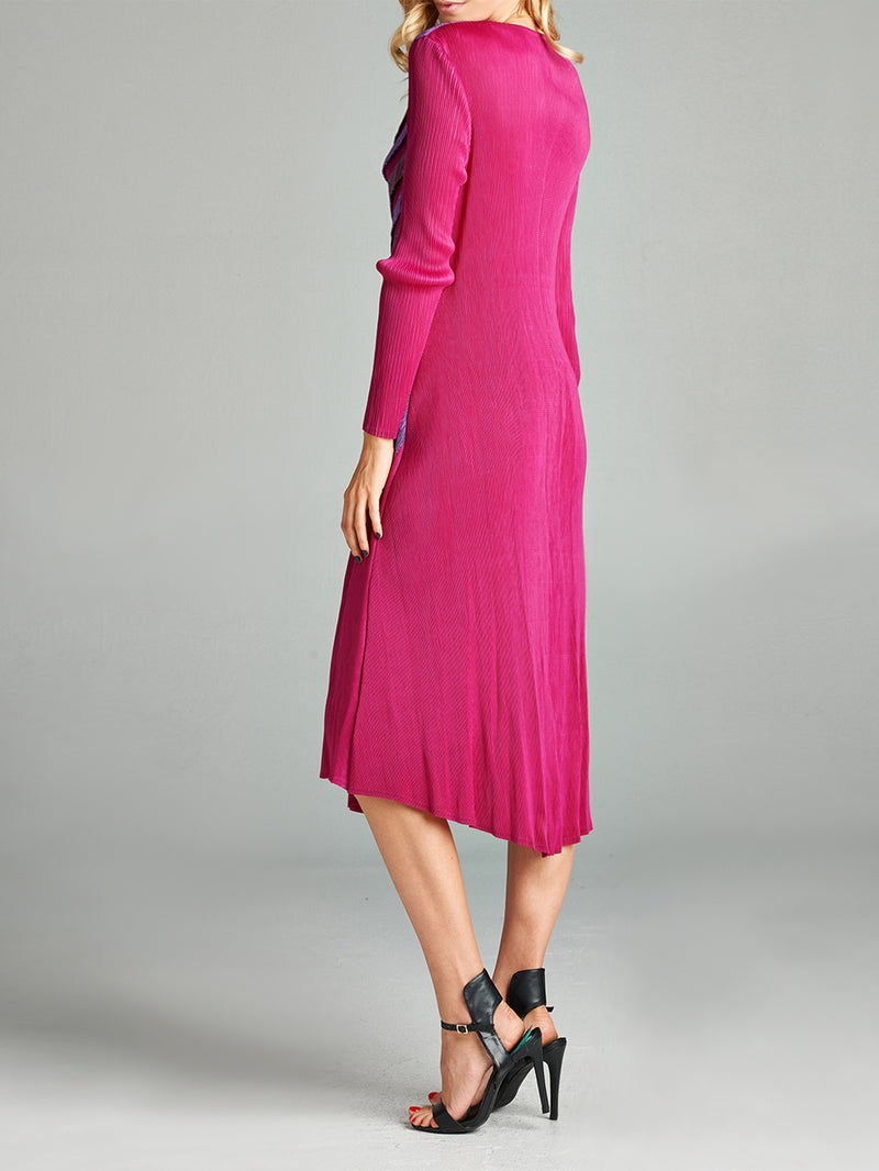 Pleated Pink Layla  Long Dress 87135-1