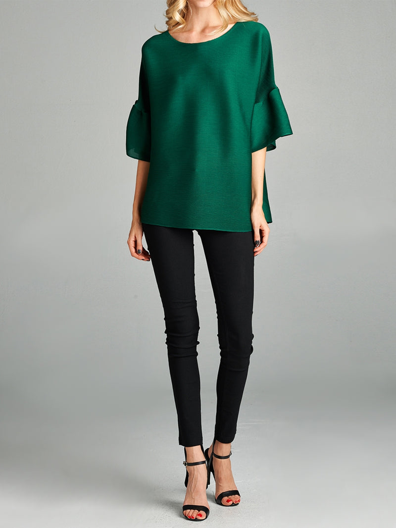 Pleated Green Audrey  Top With Ruffle Sleeve 60422