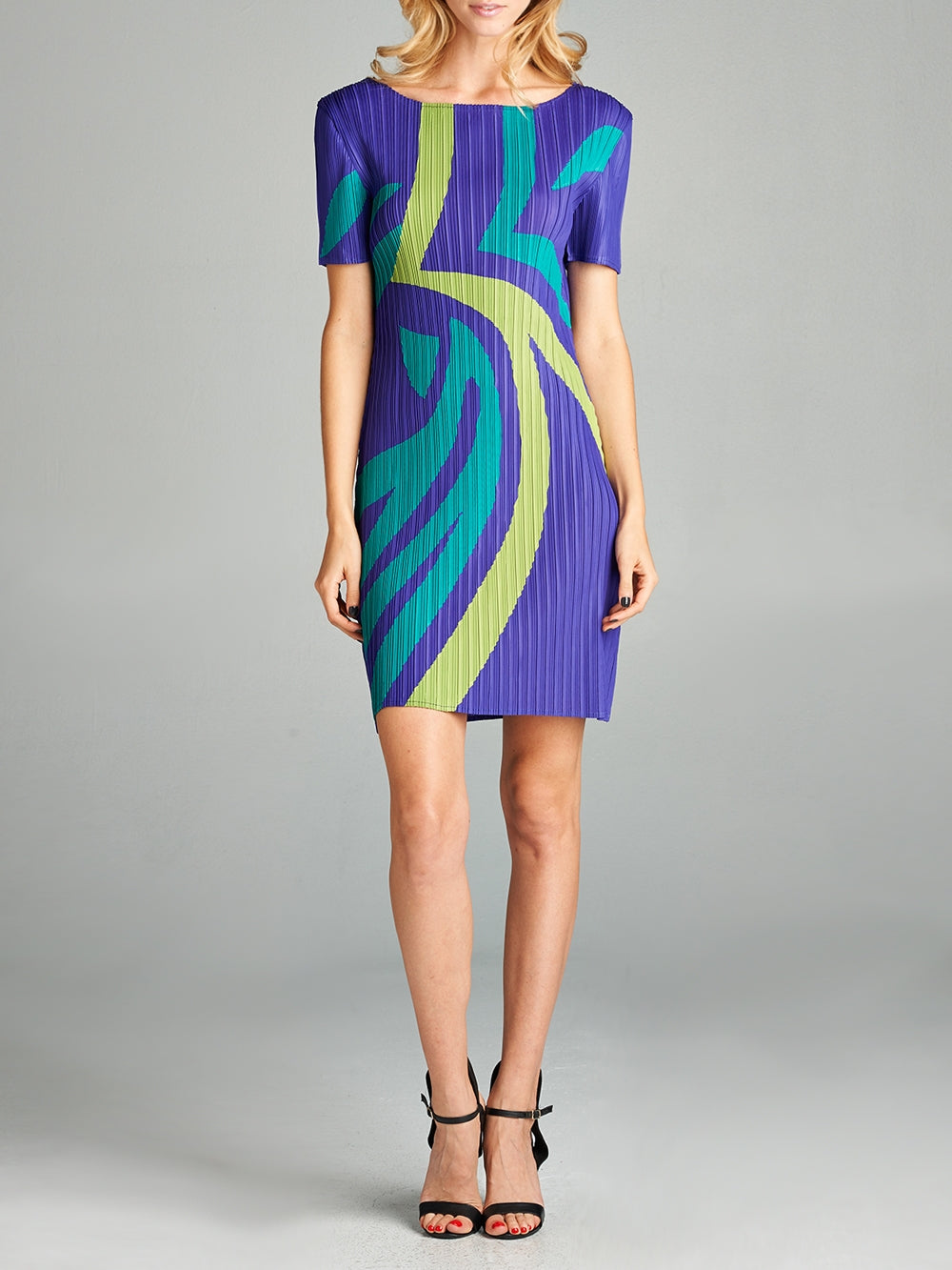 Pleated Purple Kenya  Dress ZL15