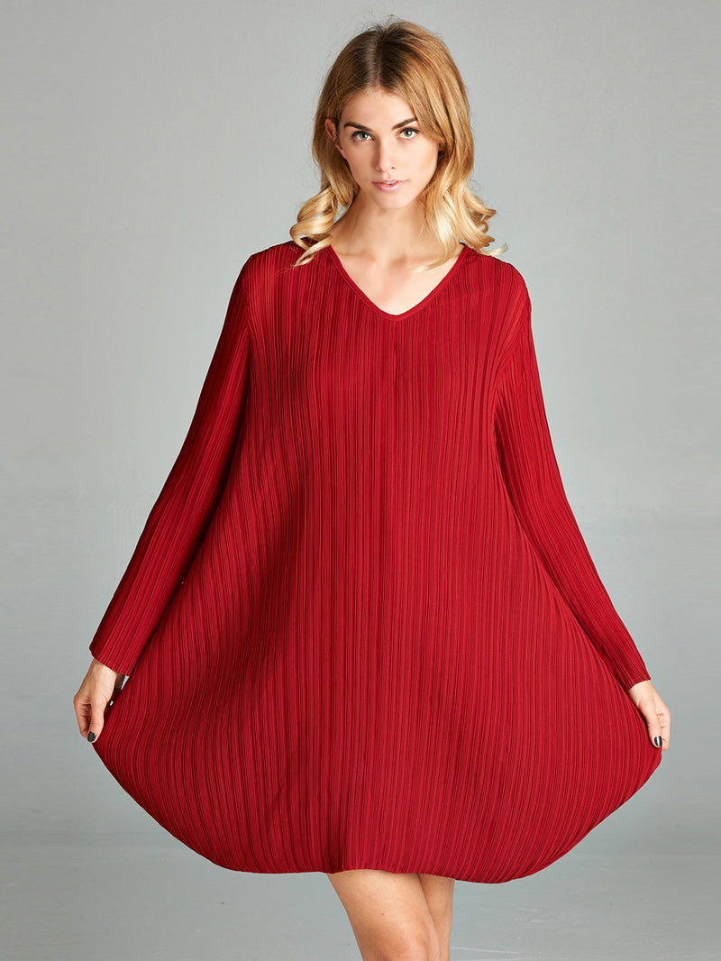 Pleated Red Raya  Dress  NC9020