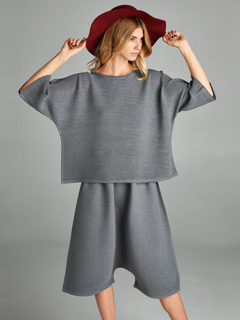 Pleated Grey Olivia Knit Top HT-60271
