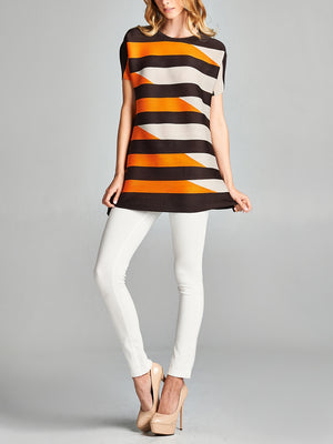 Pleated  Grey Orange Block   Top 20405