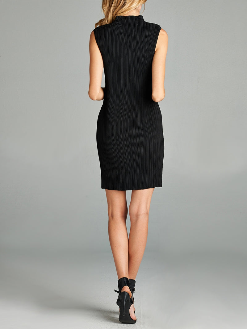 Pleated Black V Neck Bodycon Dress ZL01