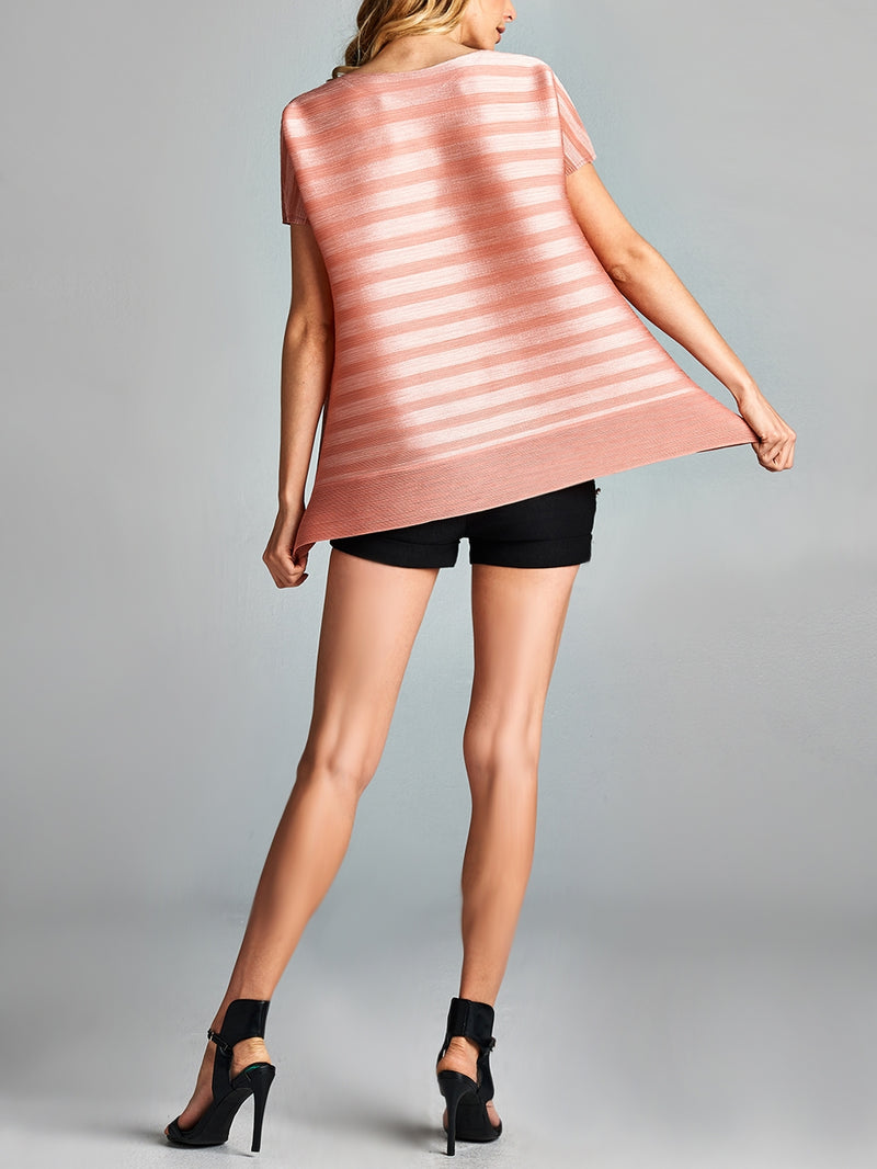 Pleated Pink V Neck Short Sleeve  Top GJ-T5199