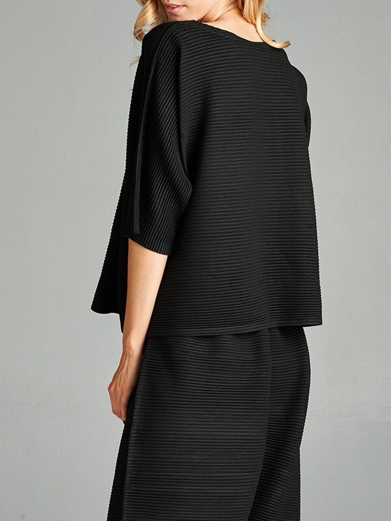 Pleated Black Olivia Knit Top HT-60271