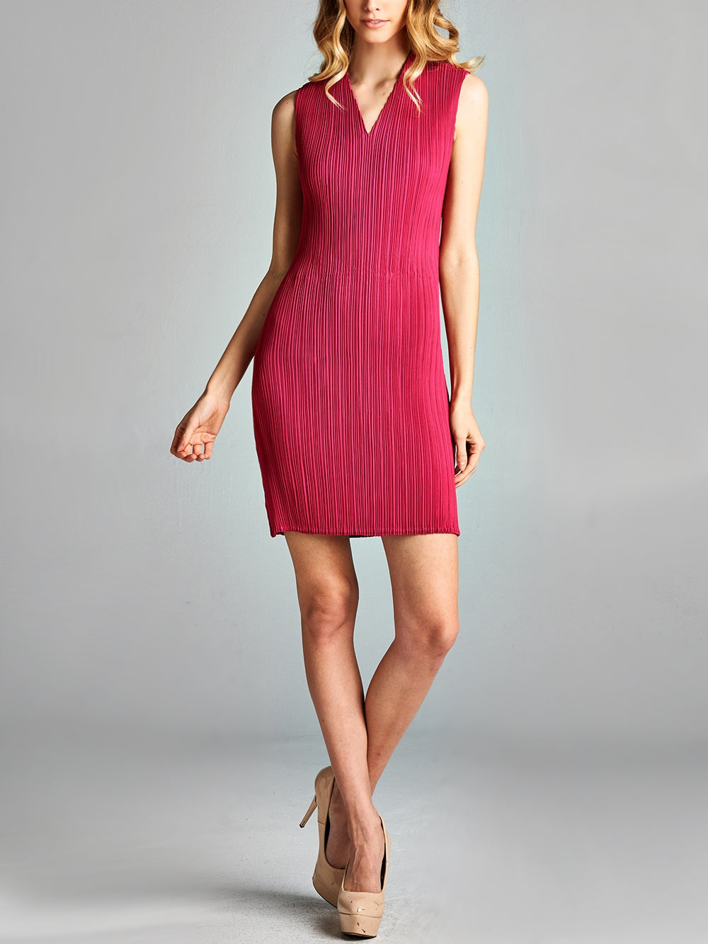 Pink V Neck Pleated Bodycon Dress