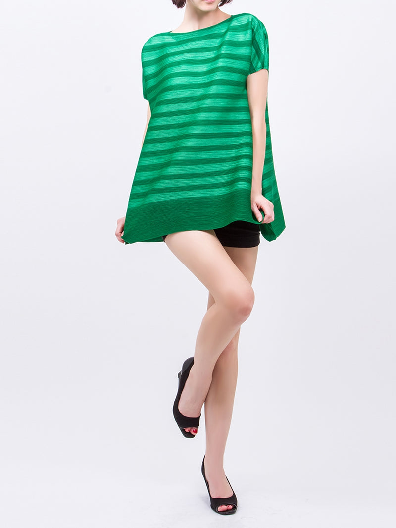 Pleated Green V Neck Short Sleeve Top GJ-T5199