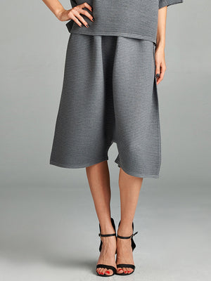 Pleated Grey Olivia Knit  Pants HT-8125