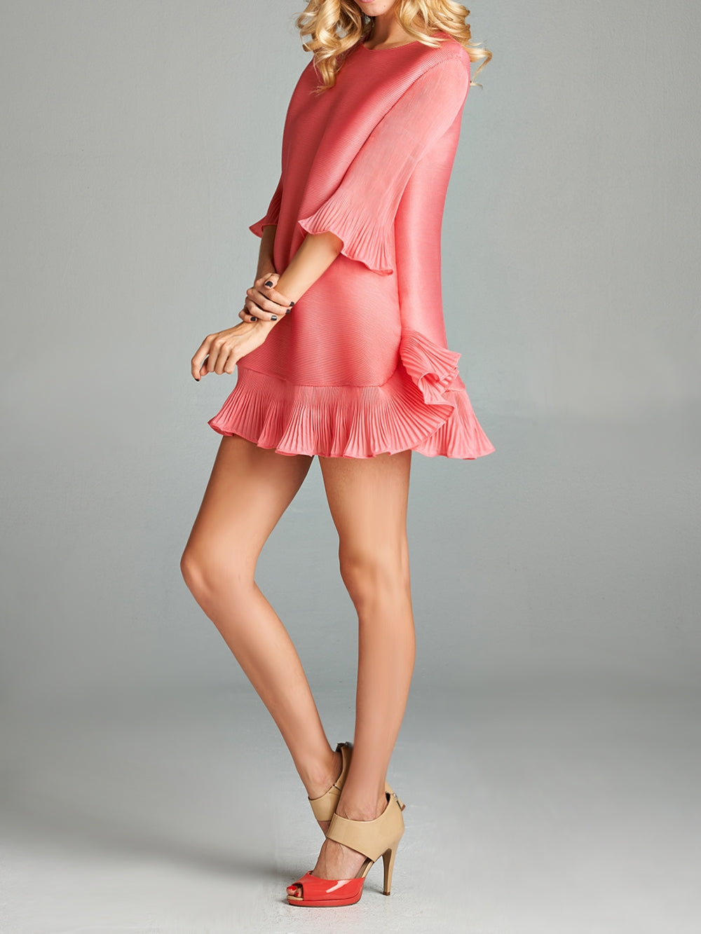 Pink Chloe Pleated Dress With Ruffle Bottom