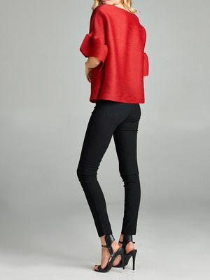 Pleated Red Audrey  Top With Ruffle Sleeve   60422
