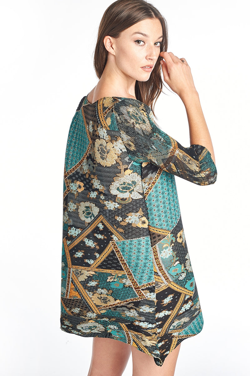 Pleated Daisy  Tunic Blouse 3/4 sleeve Blue Print 6099