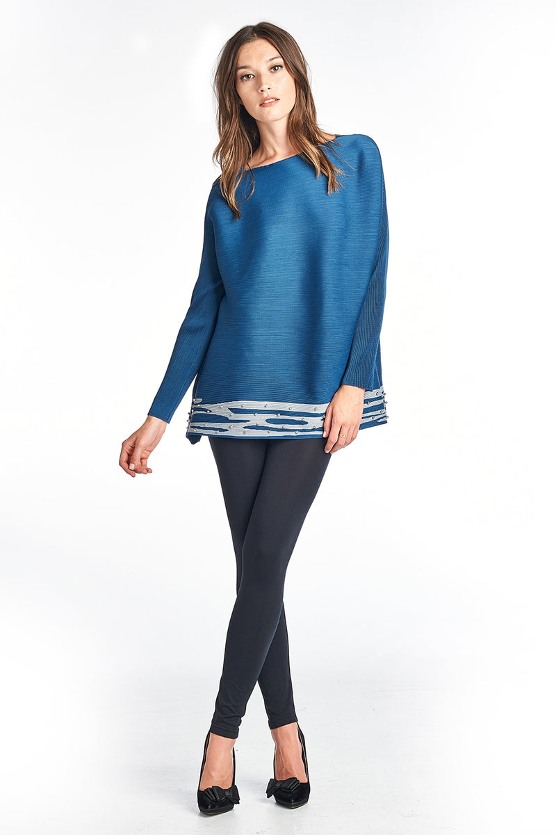 Pleated Sia blouse long sleeve Blue 8503