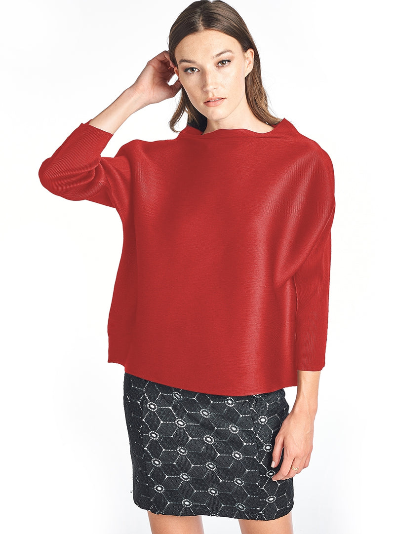 Pleated Tyra  3/4 sleeve Top Red 60549