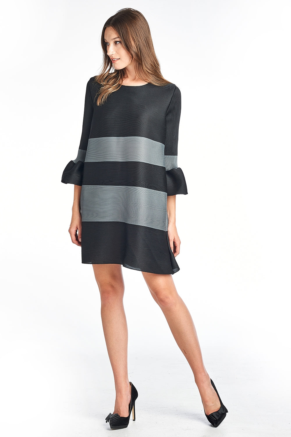 Lola Pleated Stripe Dress 3/4 bell sleeve Black