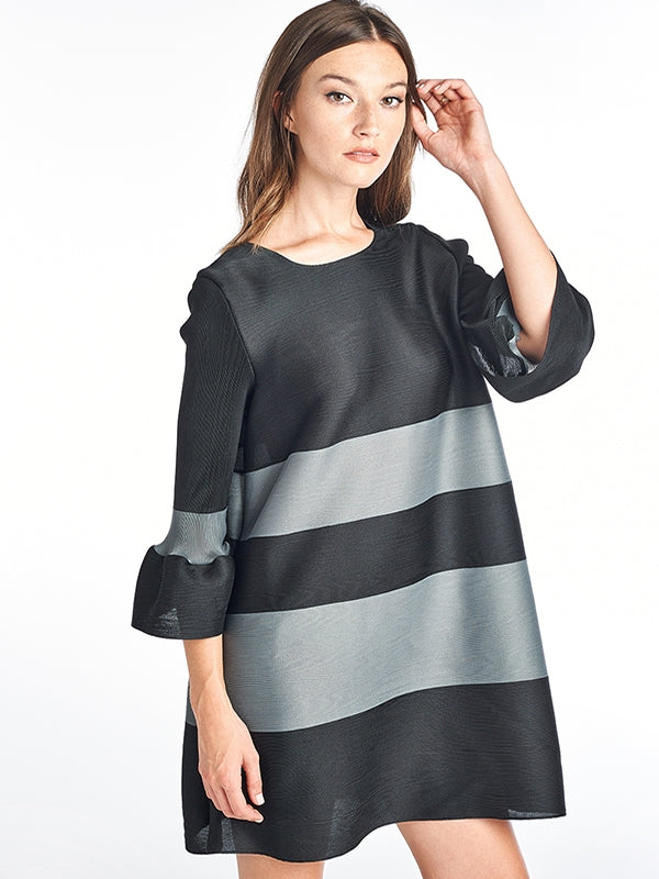 Pleated Lola Stripe Dress 3/4 bell sleeve Black 60556