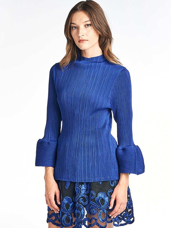 Pleated Louna  Blouse Bell Sleeve Blue T10111