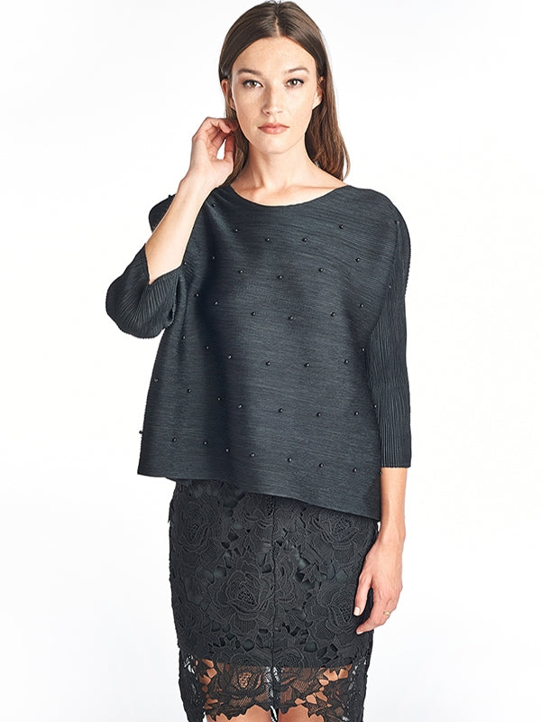 Pleated Venla  Blouse 3/4 Sleeve Black  15028