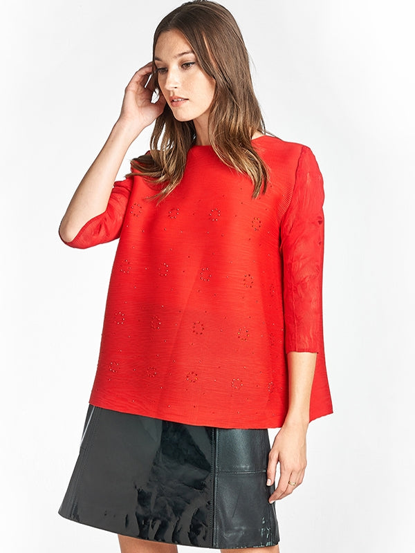 Pleated Azalea 3/4 Sleeved  Blouse Red 6202