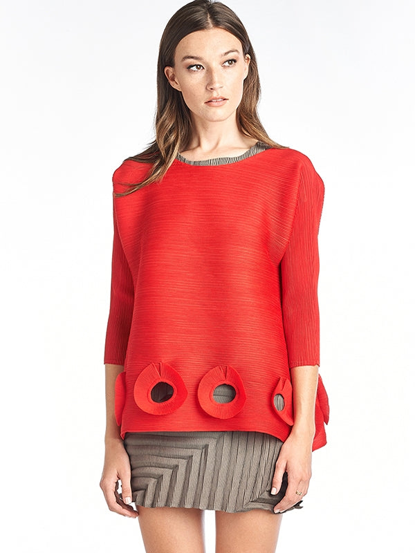 Pleated Lilou blouse  3/4 sleeve Red 5989