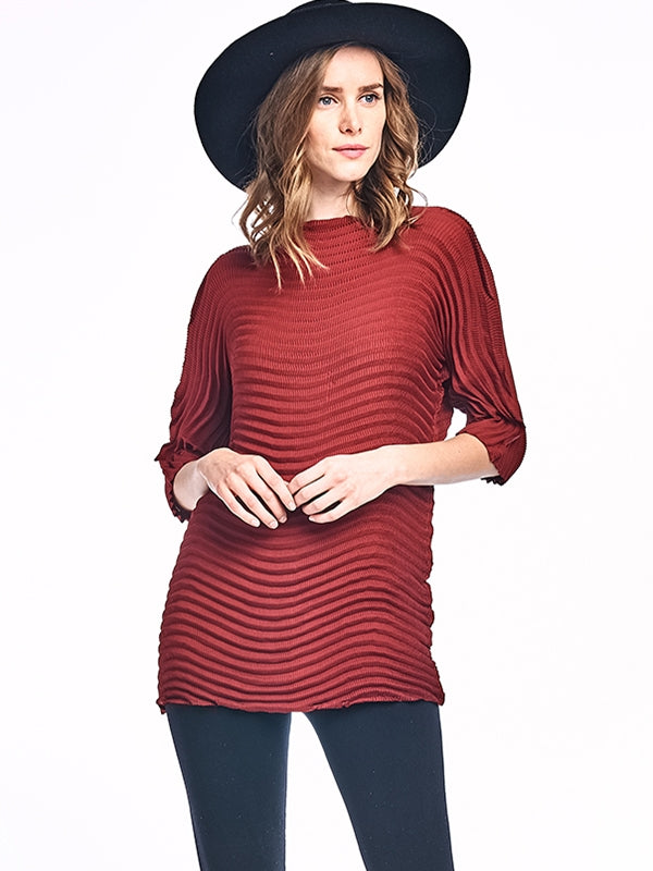 Pleated Lowell Tunic Blouse 3/4 sleeve Red 6095