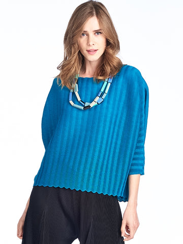 Claudia Pleated Tunic Blouse Navy