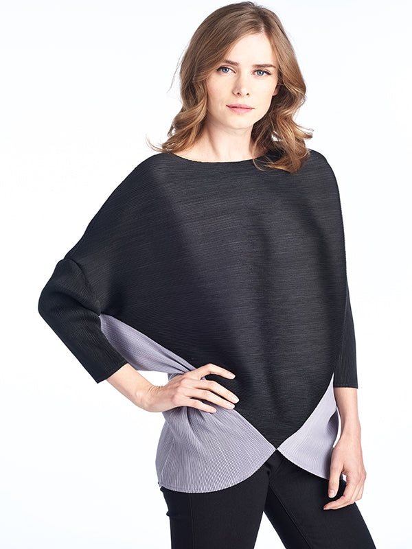 Pleated Nicole blouse black grey 81328
