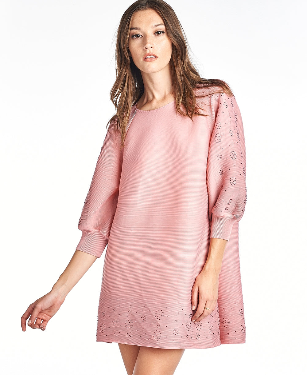 Paolo Pleated Tunic Blouse 3/4 sleeve Pink