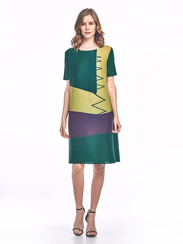 Pleated Athena Dress with block design Green 60745