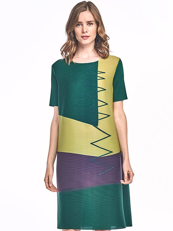 Athena Pleated Dress with block design Green