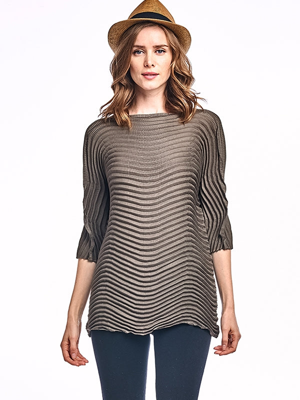 Lowell Tunic Blouse 3/4 sleeve Brown