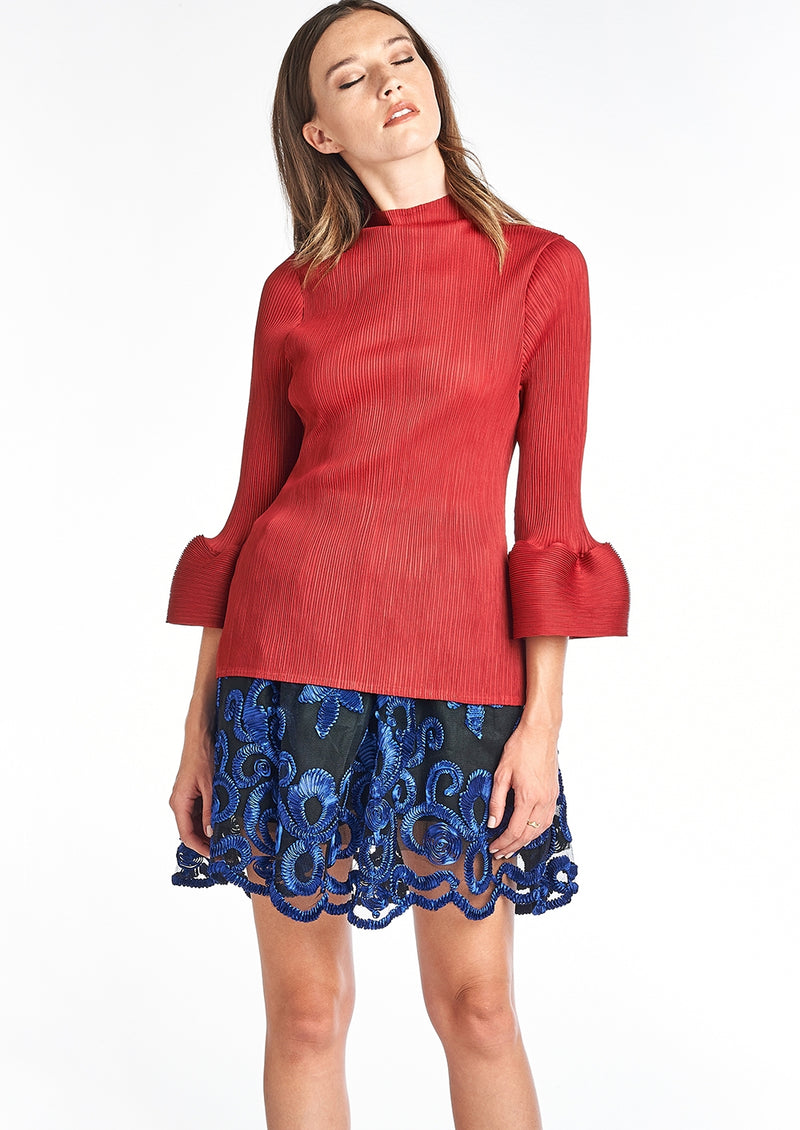Pleated LOUNA  Blouse Bell Sleeve  Red T10111