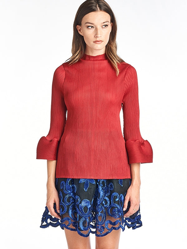 LOUNA Pleated Blouse Bell Sleeve  Red