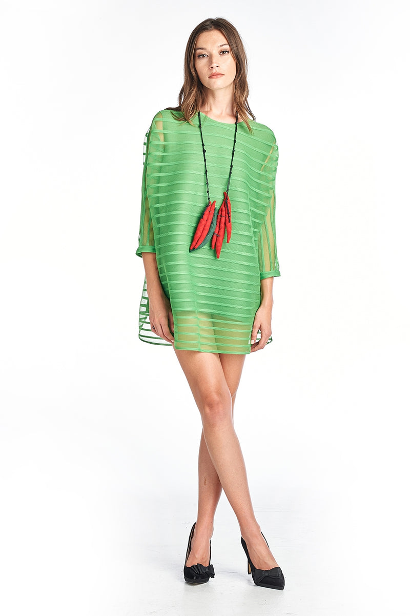 Pleated Claudia Tunic Blouse 3/4 sleeve Green 8662