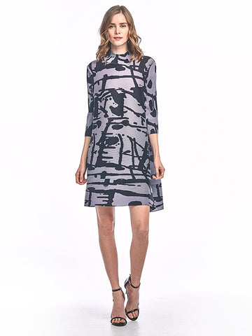 Pleated Lola Stripe Dress 3/4 bell sleeve 60556
