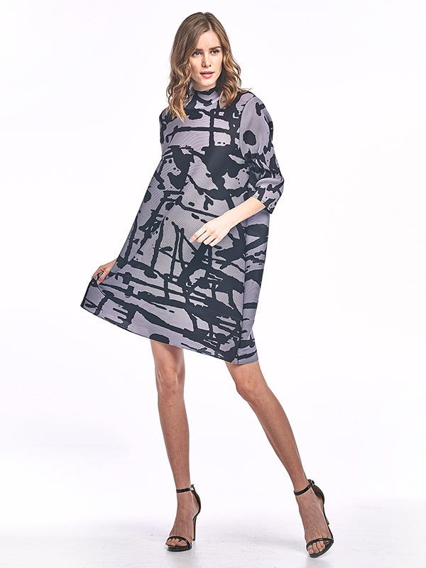 Pleated Antonia Dress with black printed 60784