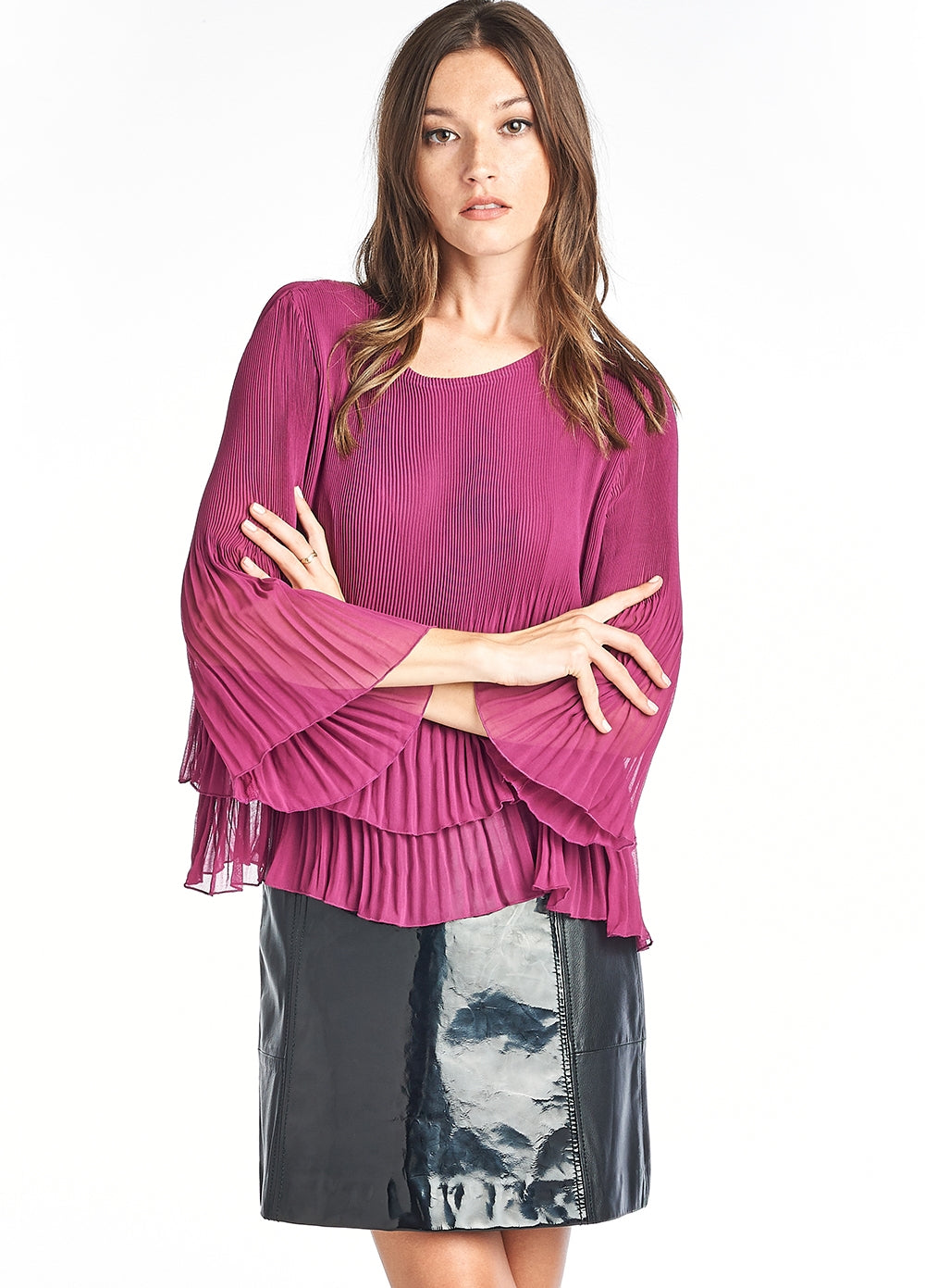IRIS pleated Ruffle Blouse Pink 3/4 sleeve
