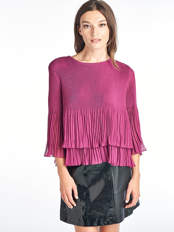 Pleated IRIS  Ruffle Blouse Pink  60560