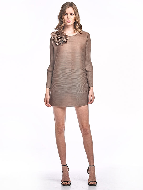 Brown Pleated Flower Dress with Long Sleeve