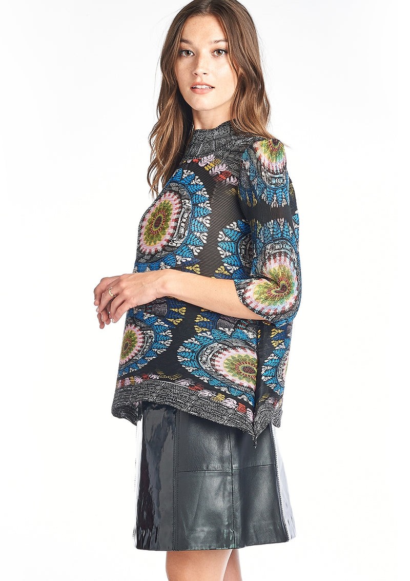Pleated Flora Turtle Neck Blouse Black 6098