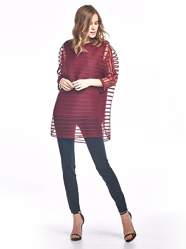 Pleated Claudia  Tunic Blouse Burgundy 8662
