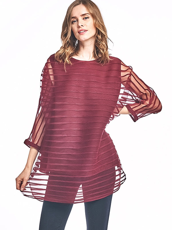 Claudia Pleated Tunic Blouse Burgundy