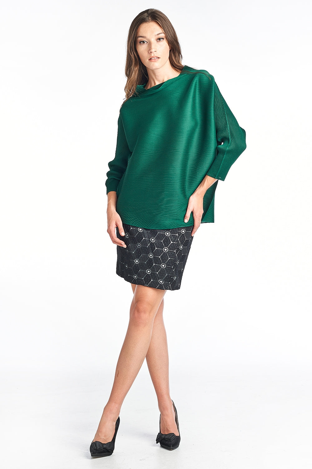 Tyra Pleated 3/4 sleeve Top Green