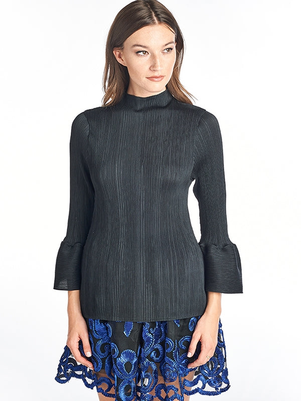 LOUNA Pleated Blouse Bell Sleeve Black